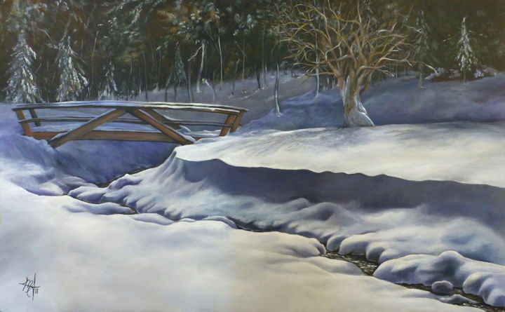 Winter in Blandford, MA - 48x30 acrylic