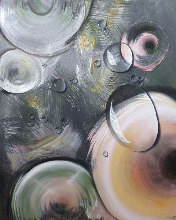 Water Drop Discs - 48x60 acrylic and oil