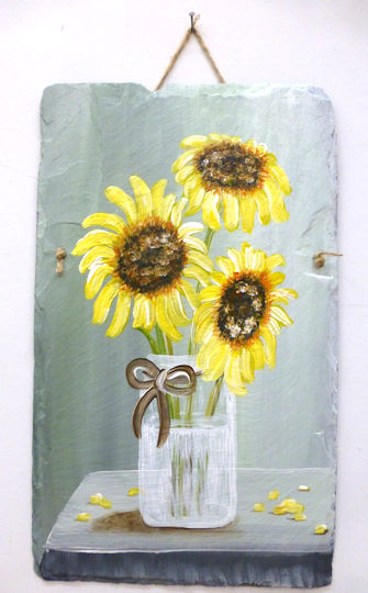 Sunflowers in Vase Slate