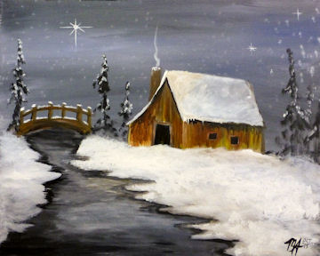 Winter Barn with Bridge