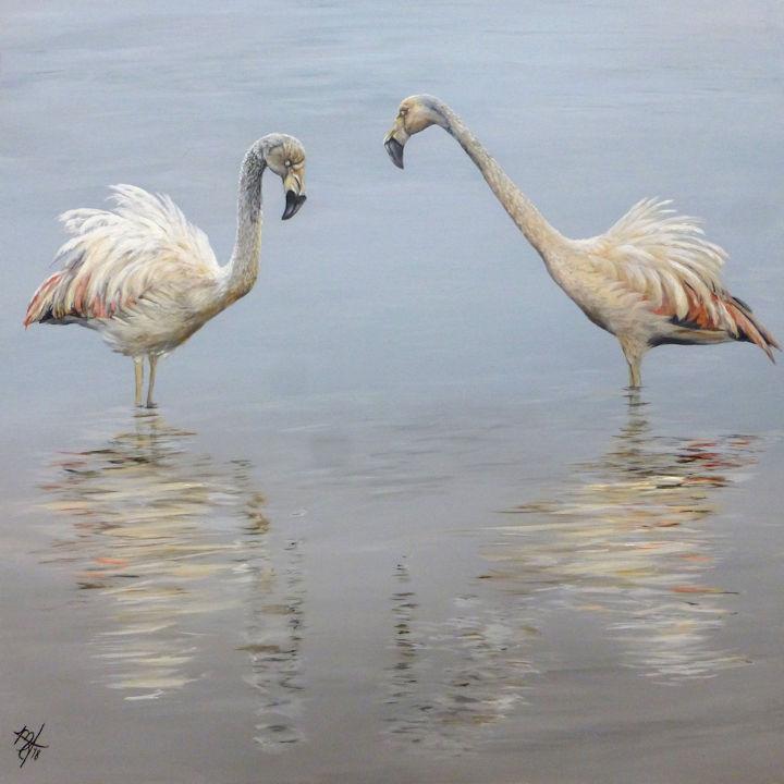 Flamingo Meeting - 48x48 acrylic on canvas