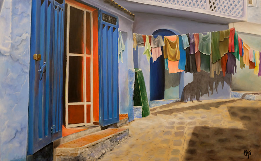The Blue City, Chef Chaouen Morocco - 48x30 acrylic