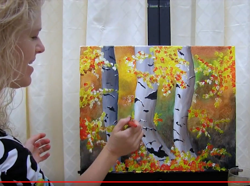 "HOW TO PAINT ""AUTUMN BIRCH TREES"" - Video - Image"