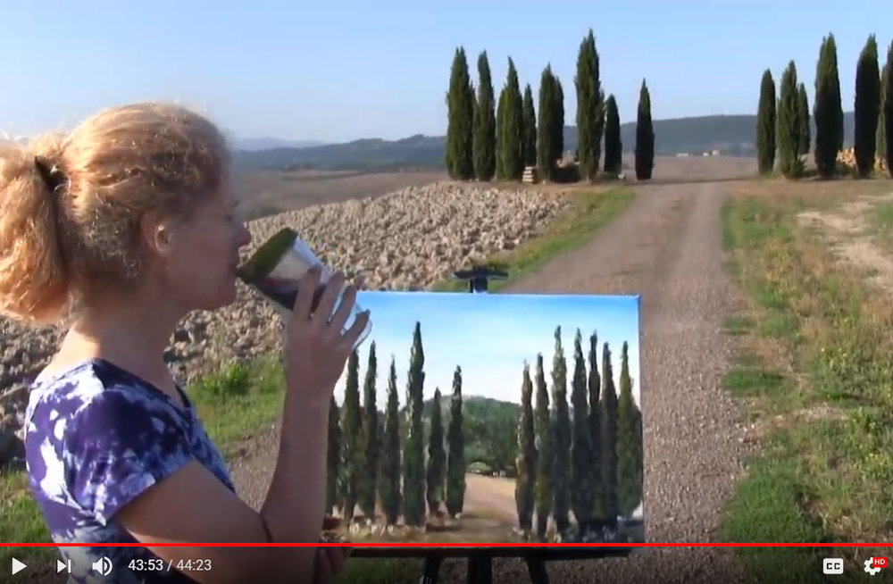 "LEARN TO PAINT""TUSCAN SPLIT CYPRESS TREES"" - Video - Image"