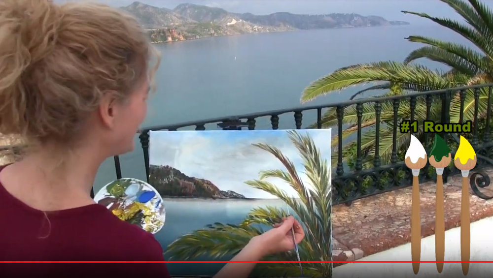 "HOW TO PAINT ""COSTA DEL SOL PALM TREE"" NERJA,SPAIN - Video - Image"