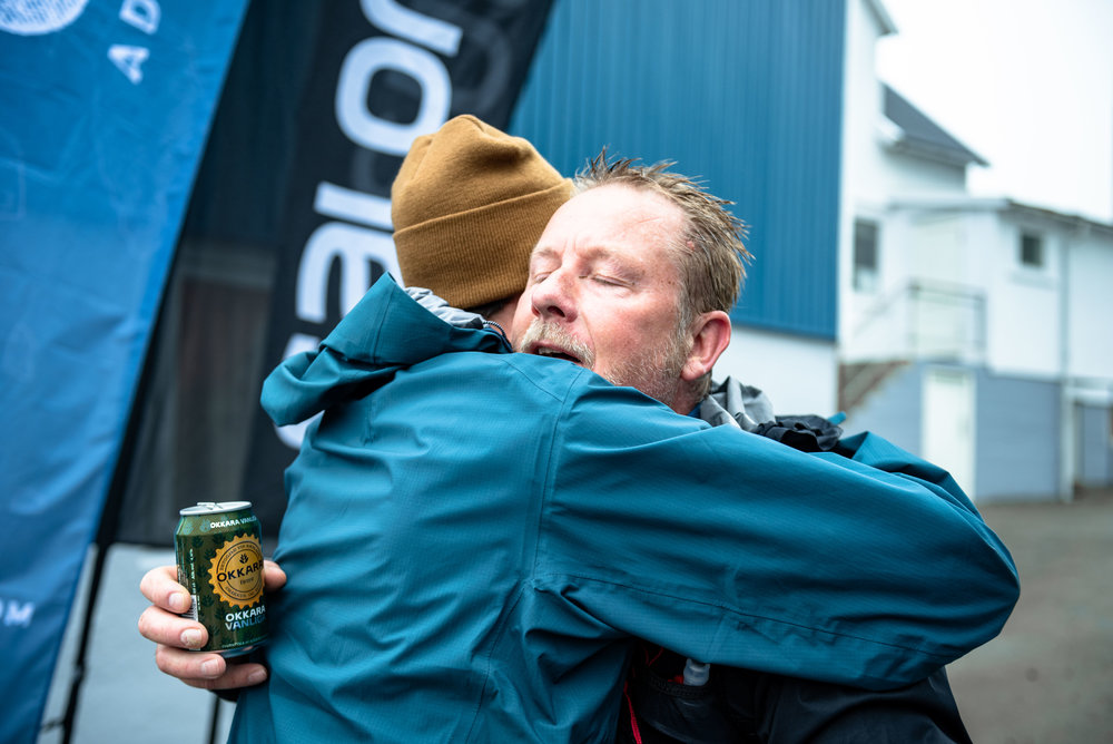 A cold Okkara beer and a hug at the finish line  Photo by David Altabev