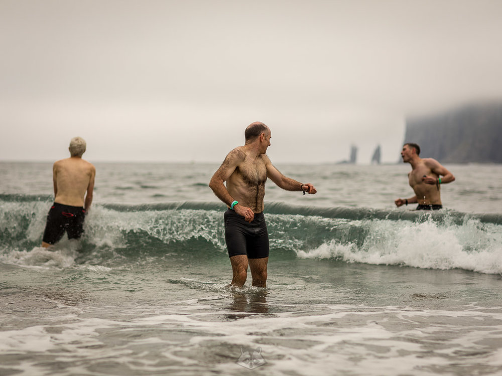 Runners enjoying a post run sea swim off the bay of Tjörnuvík  Photo by Scott Seefeldt