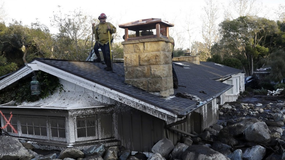 One of the many homes destroyed in the mudslides in Montecito, CA (via Daily News)