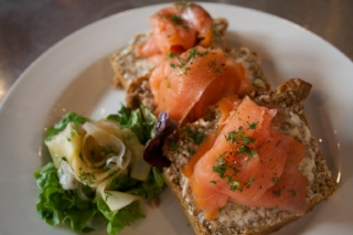 Smoked Salmon on Brown Bread with House Pickled Cucumbers
