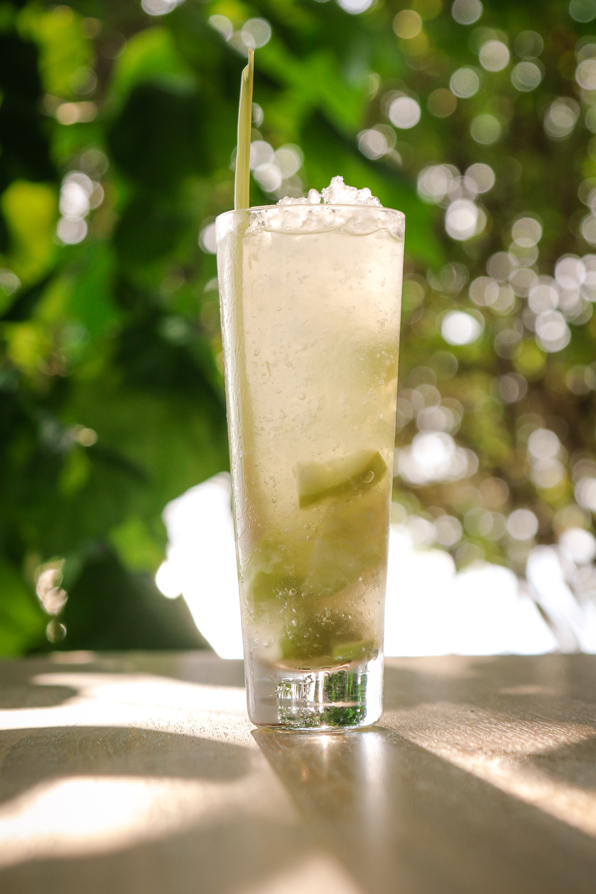 Mojito Cocktail Drink with Lemongrass Straw