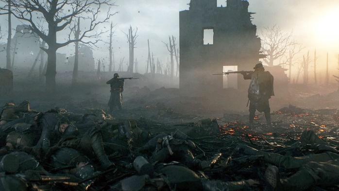 Battlefield 1 er godt eksempel på et computerspil, der har meget realistiske elementer. I de første missioner, som er afbilledet her, får man en god fornemmelse af skyttegravskrigen under 1. Verdenskrig .