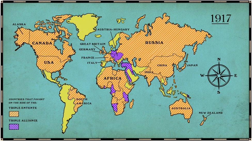 Verdenskort over hvilke lande der deltog i Første Verdenskrig