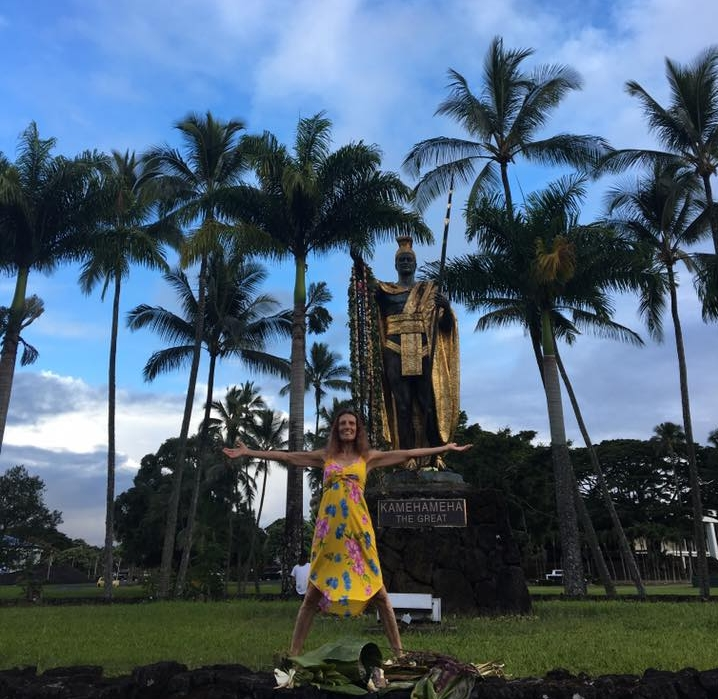 Yahavah in front of King Kamehameha Statue, in Hilo Hawaii