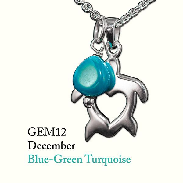 December Blue-Green Turquoise Gem Drop