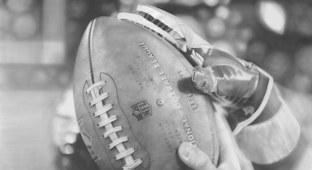 """Game Ball"", Graphite on paper, 50 x 90 inches. Commission for the Minnesota Vikings TCO Performance Center. 2018."