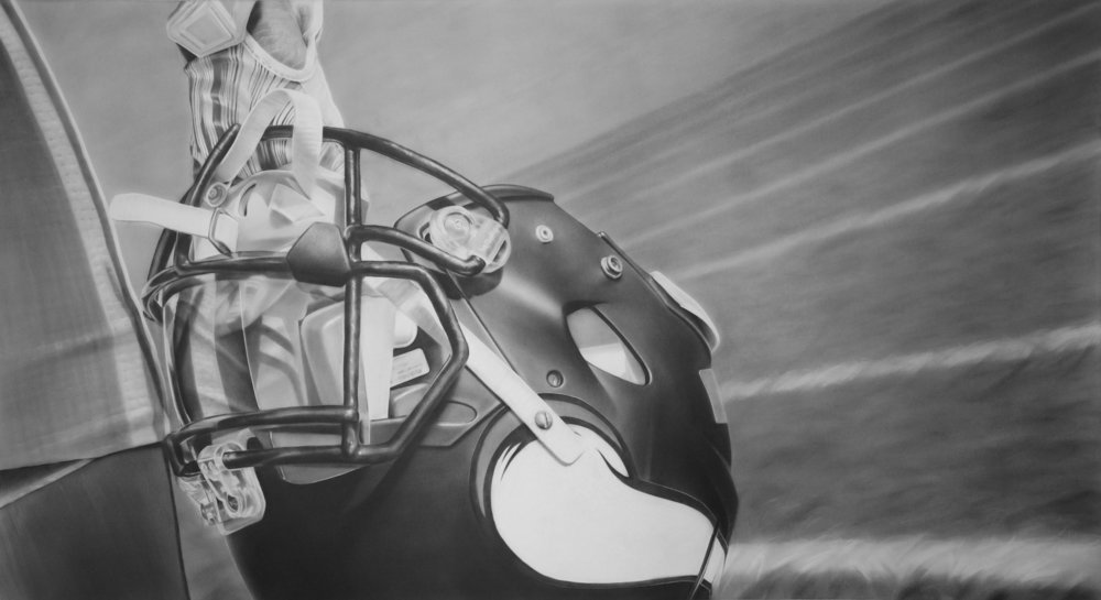 Gjallarhorn (Skol), Graphite on paper, 50 x 90 inches. Commission for the Minnesota Vikings US Bank Stadium. 2016.