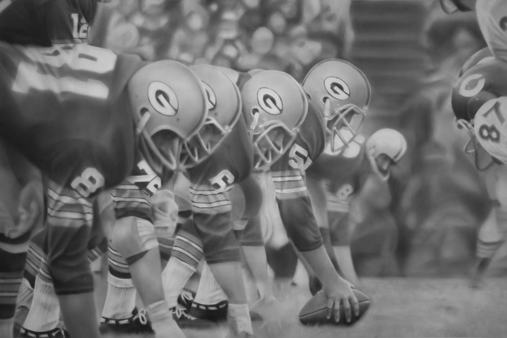 """Defenders of the Line"", Graphite on paper, 44 x 66 inches. Commission for Lambeau Field Art Collection. 2017."