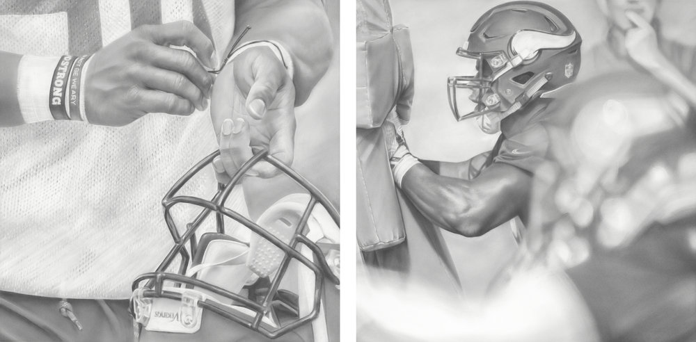 """Viking Strong"" and ""Sled (Push It)"", Graphite on paper, 30 x 30 inches each. Commission for the Minnesota Vikings TCO Performance Center. 2018."