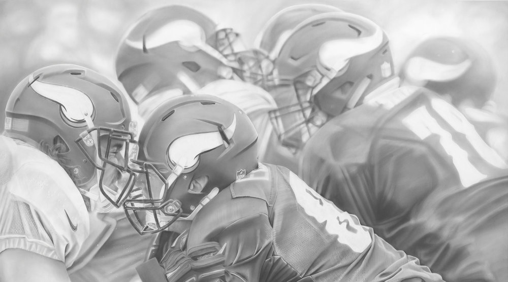 """Training Camp"", Graphite on paper, 50 x 90 inches. Commission for the Minnesota Vikings TCO Performance Center. 2018."