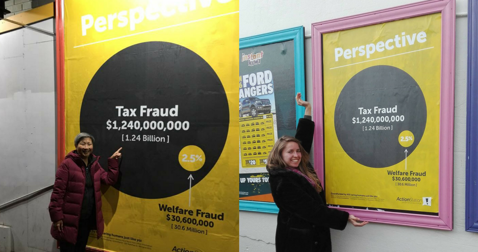 ActionStation members Anita and Gemma with crowdfunded posters in Auckland and Wellington