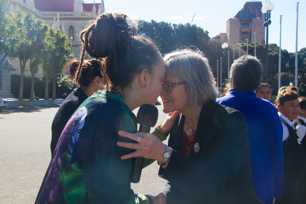 Laura and Eugenie Sage at the petition delivery to save the Haast tokoeka kiwi from a pipeline being built through their sanctuary