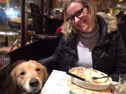 I will pet your dog - especially a local Parisian pooch!  Le Bistrot des Augustins, Saint-Michel, Paris, France