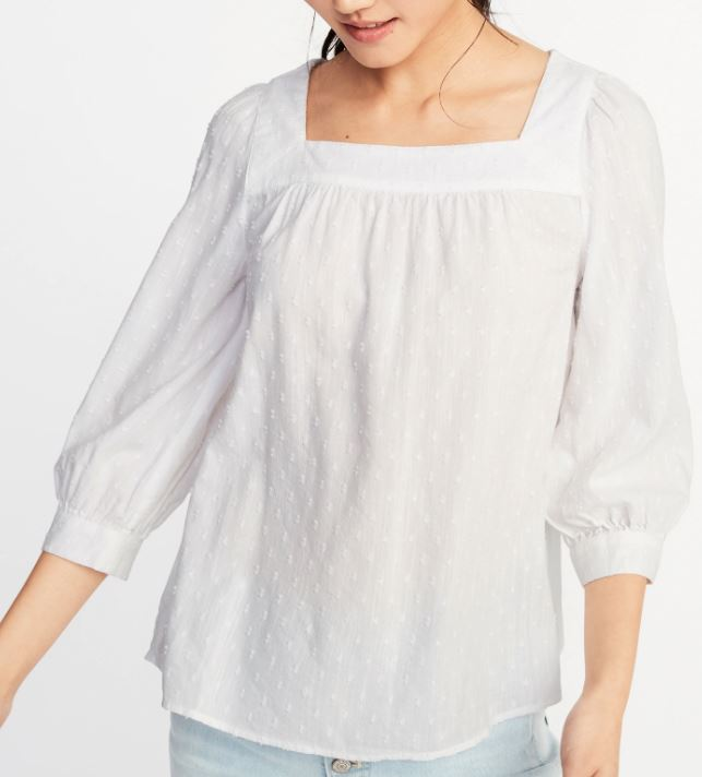 Relaxed Square-Neck Textured Top for Women ( here )