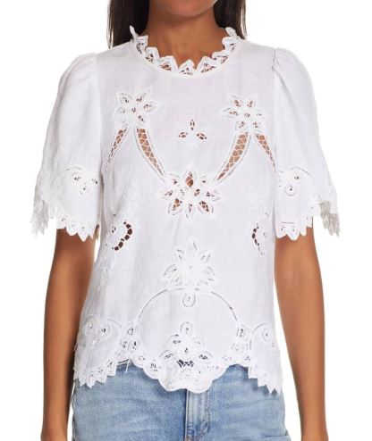 Terri Embroidered Linen Top ( here )