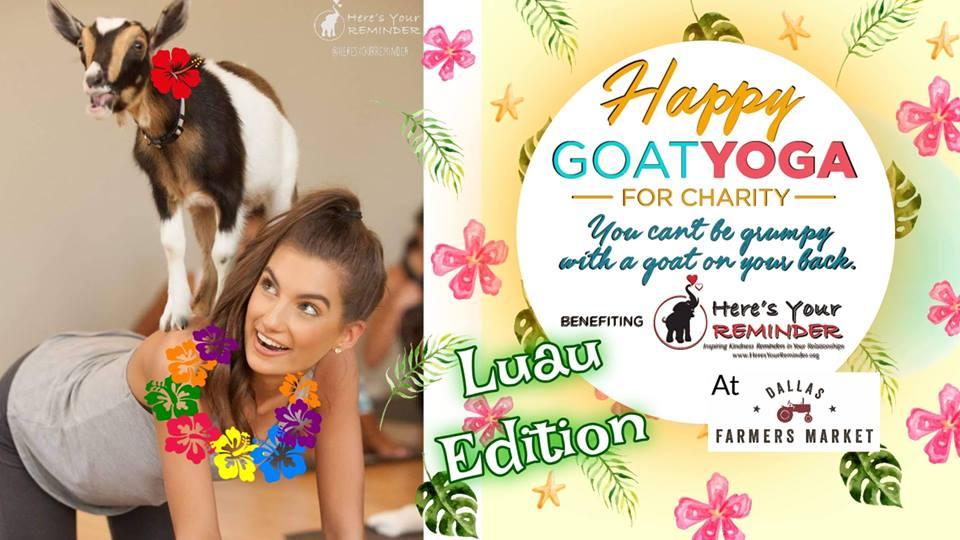 Happy Goat Yoga For Charity Luau Edition Dallas Farmers Market Fitness Ambassadors