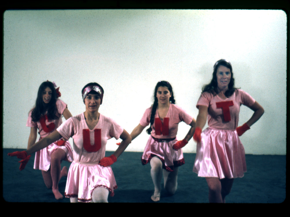 Feminist Art Program Cheerleaders, 1971, left to right: Cay Lang, Vanalyne Green, Dori Atlantis, Sue Boud