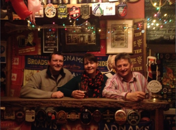 David & Nicola visiting Martyn Hillier, the owner of the UK's first Micropub – The Butcher's Arms.