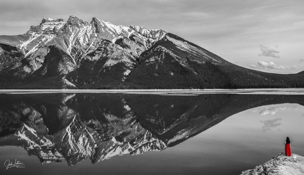 Stranger on a rock, Lake Minnewanka, AB, Canada