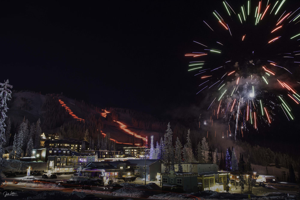 New Year's Eve Torchlight Parade at Silver Star Mountain, BC, Canada