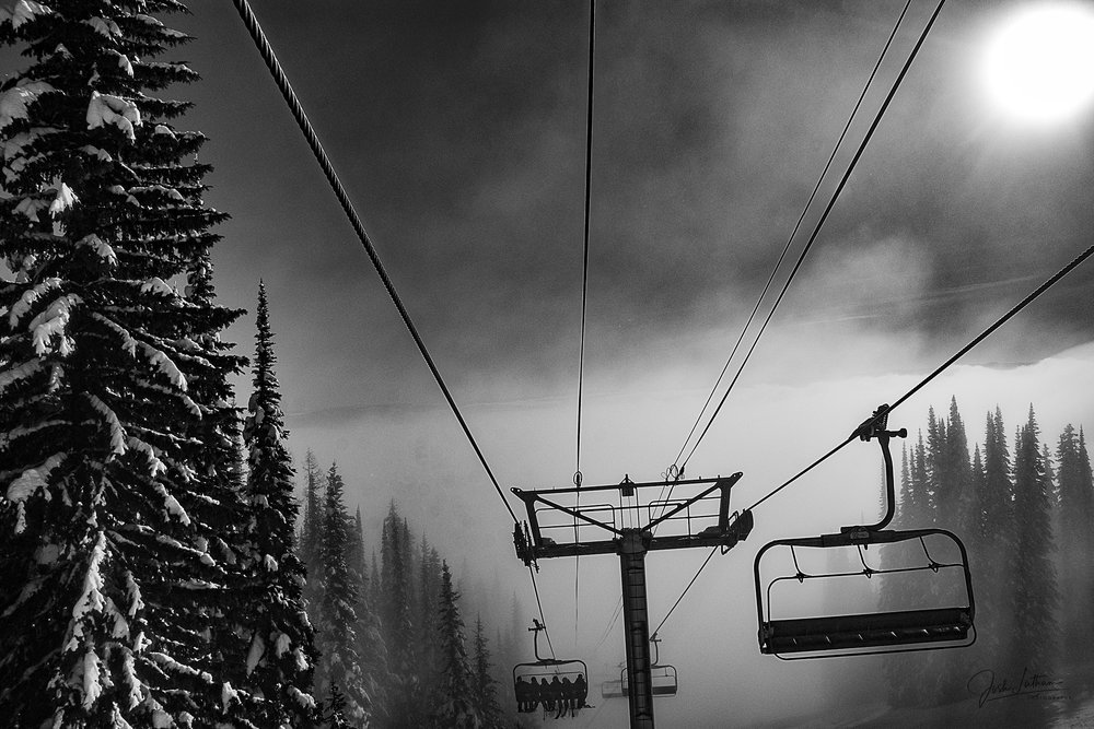 Emerging from the fog at Silver Star Mountain Resort, BC, Canada