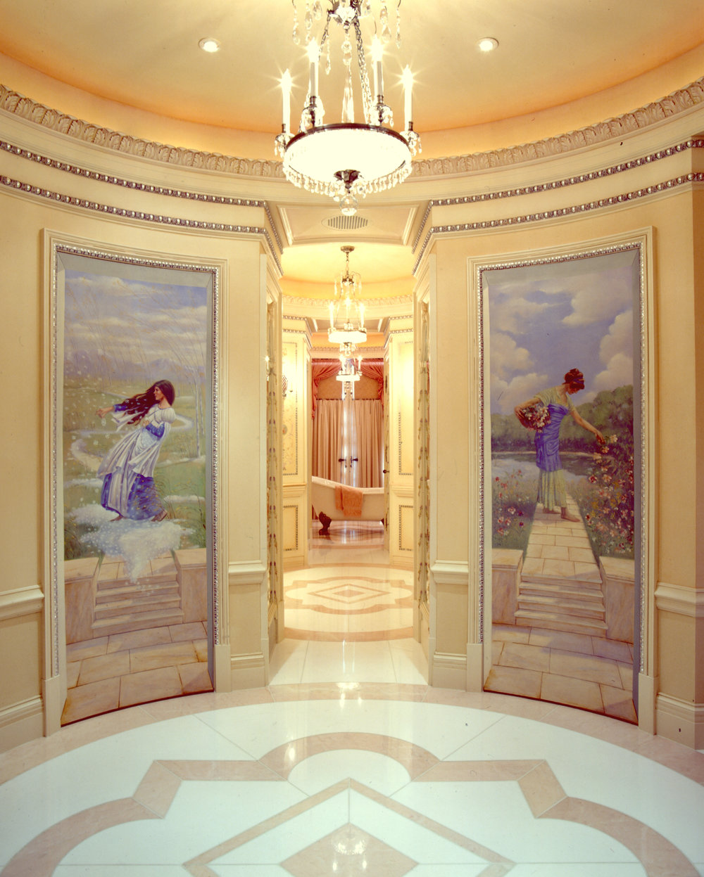 Murals, period decorative painting, and historic finishes in master bath suite.