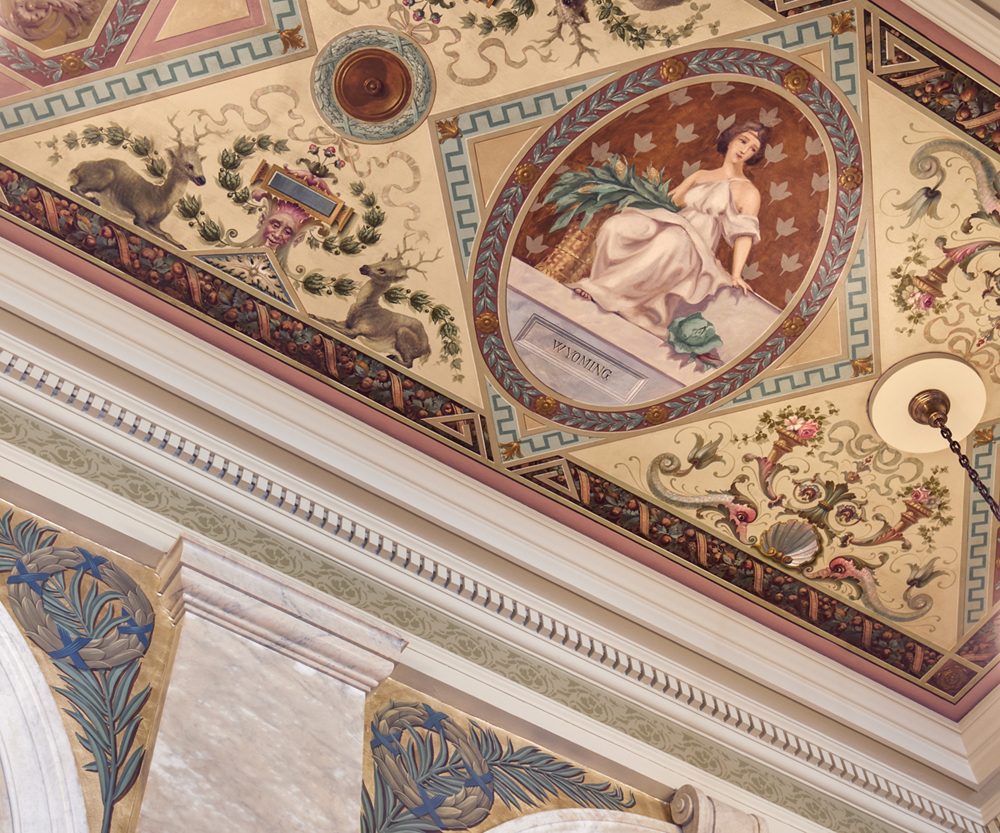 South Lobby: Ceiling mural after conservation.