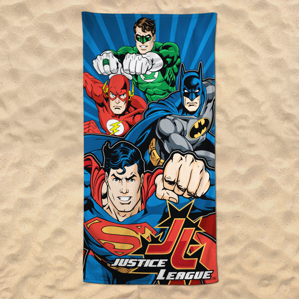 Justice League Beach Towel - I designed this beach towel for JP Imports, a licensed products manufacturer, specializing in home textiles. I worked with Warner Brothers as a licensee to acquire approvals for Justice League products. I designed hangtags and labels to accompany each product.