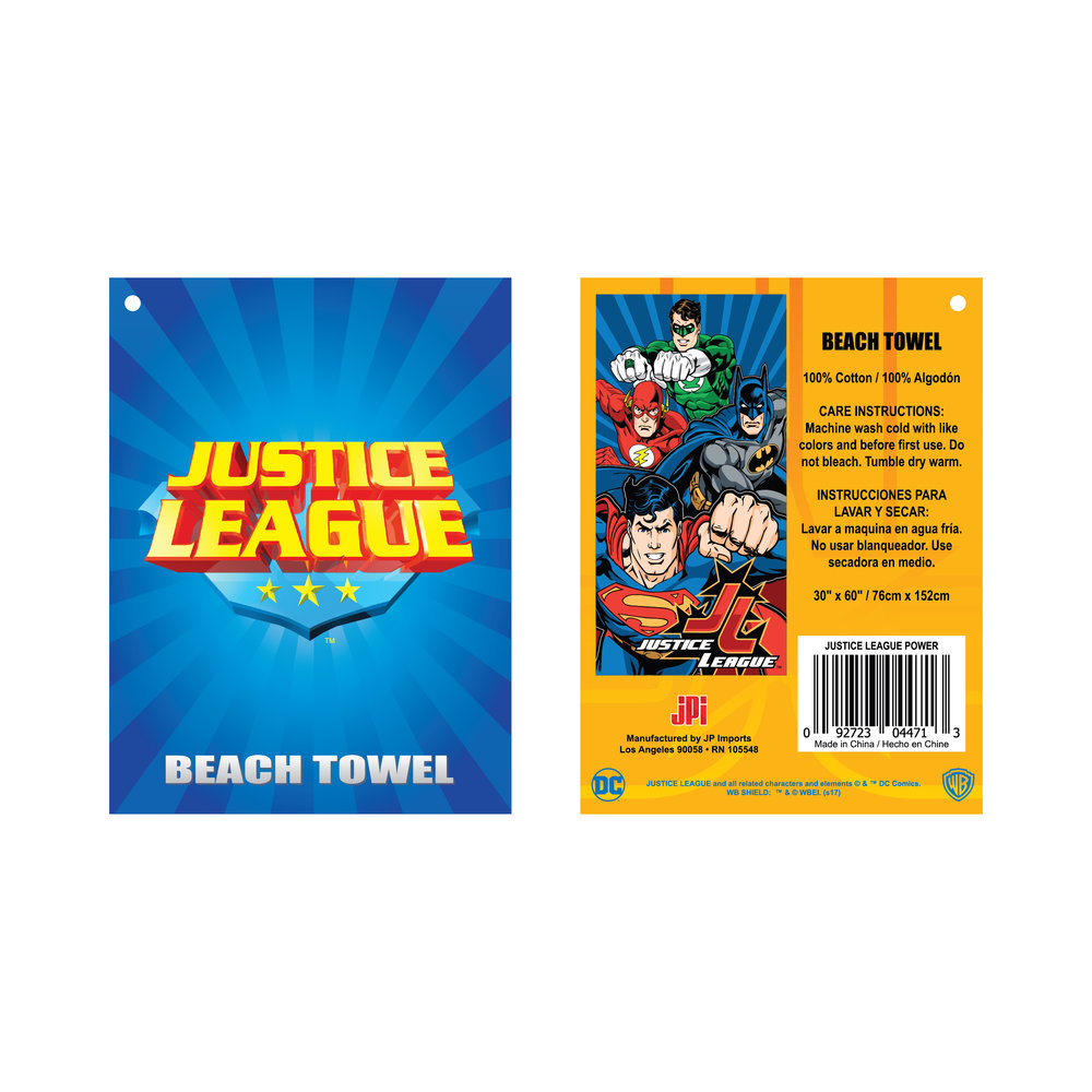 Justice League Beach Towel Hangtag
