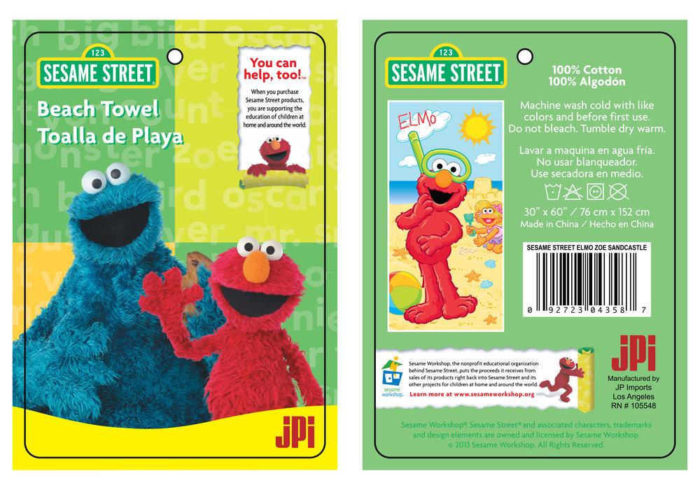 Sesame Street Beach Towel Hangtag