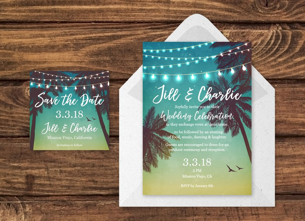 Save the Date Card and Wedding Invitation