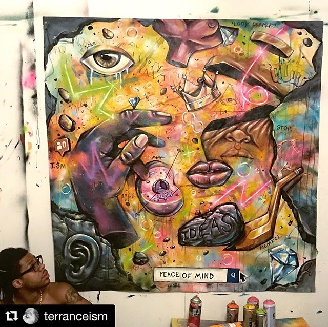 This week's Rose Hip Road Trip interview is with artist Terrance Vann—who expresses the relationship between our outer world and our inner worlds. This is one example of the beauty and brilliance he brings to those seeking to heal and be conscious. Check out our full interview by clicking on the link in bio or finding the RHRT on iTunes.  #Repost @terranceism with @get_repost ・・・ I find my thoughts have been much more abstract lately..With so much going on in the world it can been hard at times how to express everything as an artist. I constantly search for new vibes and inspiration to push my thinking to different levels but sometimes it's best to just put it all on the canvas..Much more comin stay tuned ✨👁💎👑💥
