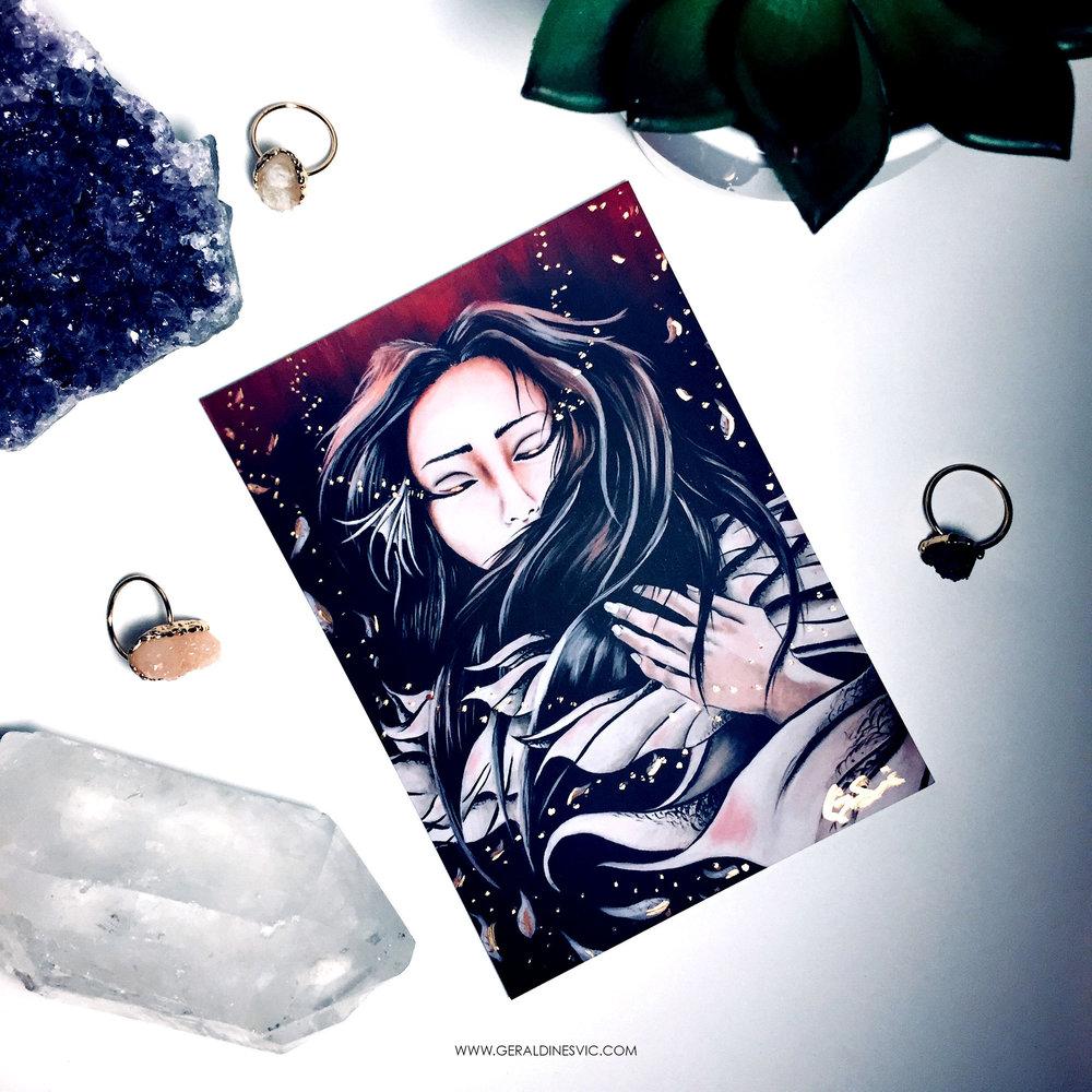 """Somnus"" Metallic Postcard"