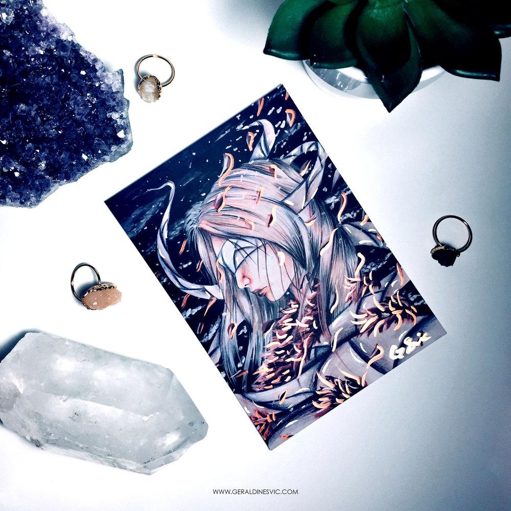 """Toska Caraphernelia"" Metallic Postcard"