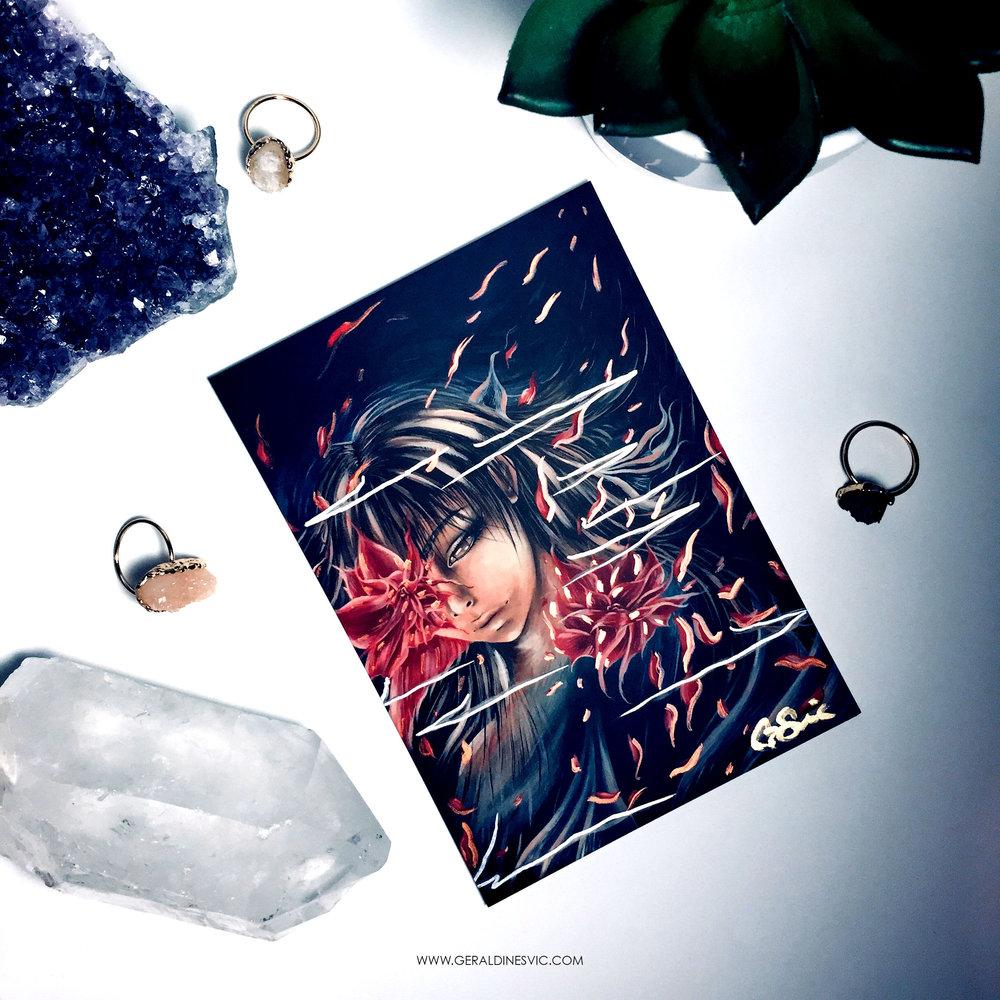 """Diminution"" Metallic Postcard"