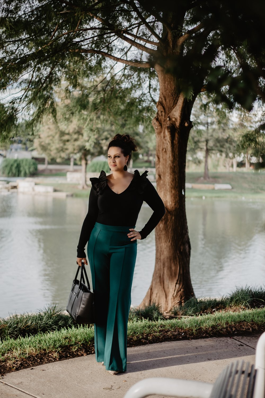 Outfit Details - Bodysuit & Pants: Fashion NovaBag: White House Black MarketShoes: Miss LolaEarrings: Sam Moon Trading
