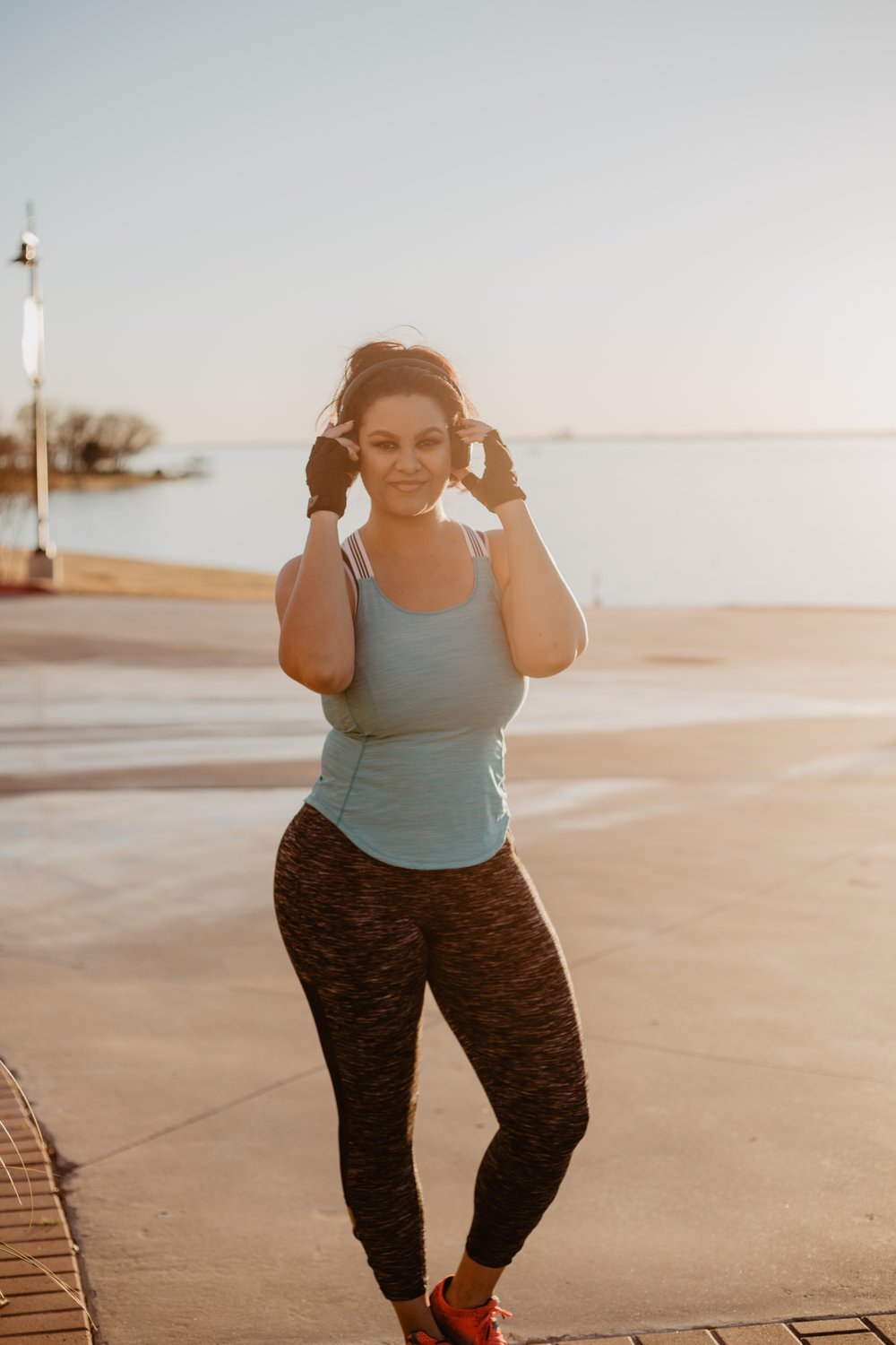 Outfit Deets - Turquoise 3-Stripe X-Back Top: AdidasNoise-Cancelling Bluetooth Headphones: AKGGloves: AcademyPants: Bally Total FitnessShoes: Brooks Levitate Running