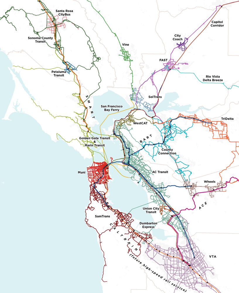 Service areas of the Bay Area's 27 fragmented transit agencies (courtesy: SPUR)