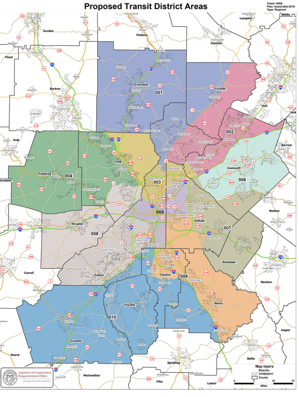 The 10 special districts for The ATL carved out of the 13 county metro region. These districts will send citizen representatives to The ATL board, and are intended to match commuting corridors and encourage regional thinking. Credit: Atlanta Regional Commission