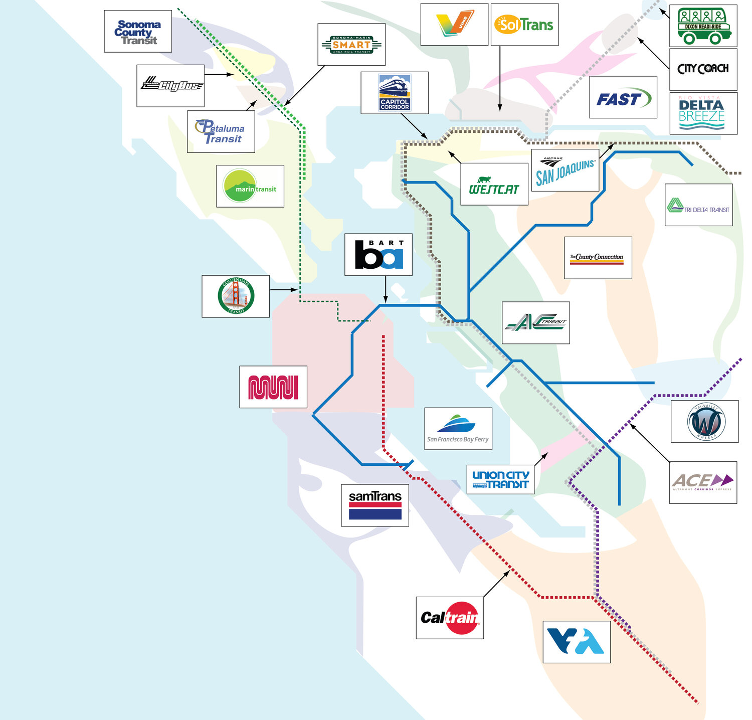 The Definitive List Of Bay Area Transit Agencies Seamless Bay Area Select a point on the map to view speeds, incidents, and cameras. seamless bay area