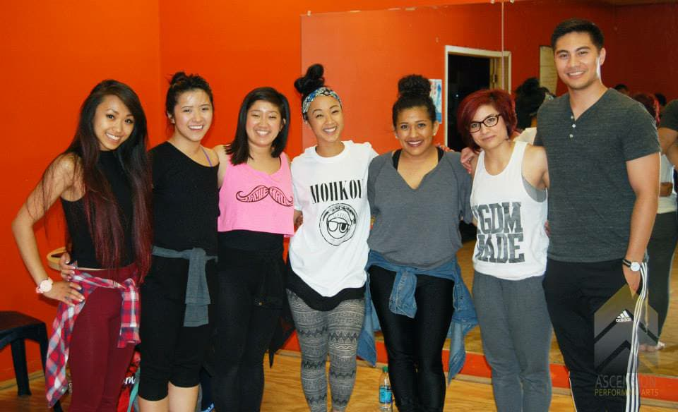 The very first workshop APA ever hosted with Beverly Bautista. Bev provided technical training, intentional choreo, and spiritual development - all things still offered by APA!  (left to right: Elizabeth Mangulabnan, Mary Vo, Caiti McDonald, Beverly Bautista, Liz Galvan, Gabriela Miller, Bryan Frias)